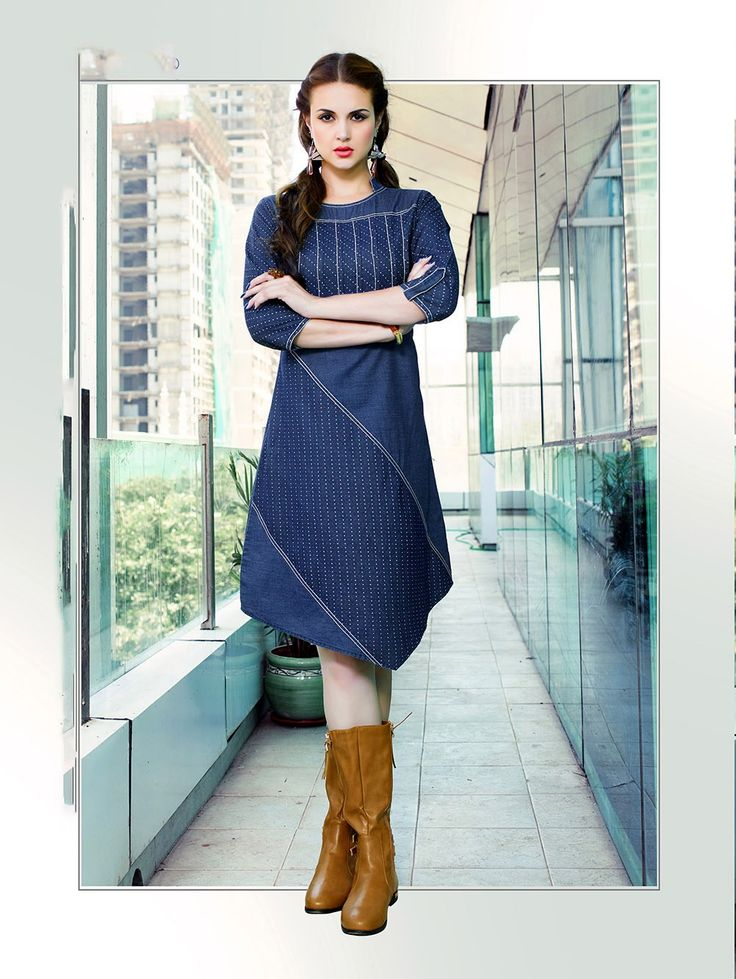 Fancy designer cotton denim print Kurti