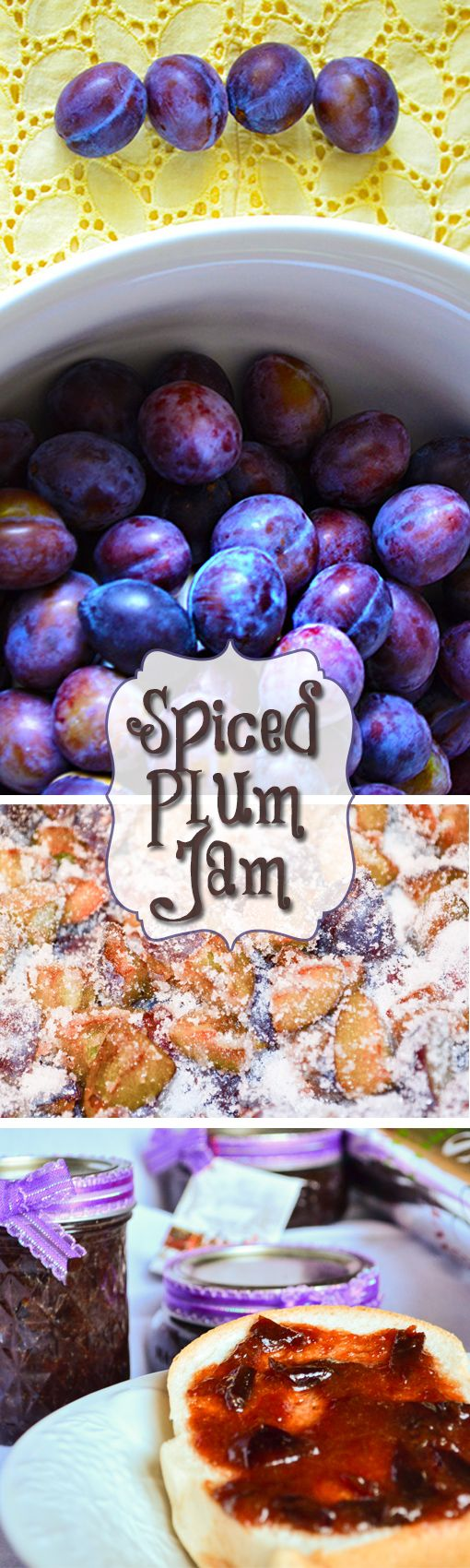 Tastes like Christmas; this homemade spiced plum jam recipe idea makes a cute and tasty holiday mason jar gift.