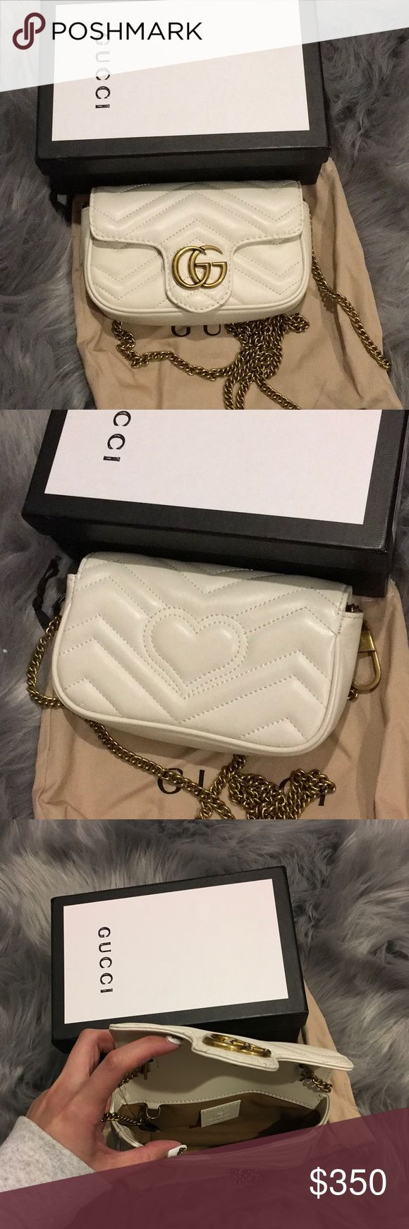 """Gucci nano crossbody bag Could fit iphone 7 plus as shown on picture.  Chain shoulder strap with 23.5"""" drop. Super mini size: 6.5""""W x 4""""H x 2""""D. Bags Crossbody Bags"""