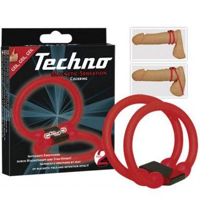 Kroužek na penis TECHNO - Dvojitý kroužek Techno Cockring červené barvy s magnetickou silovou podložkou dokáže podpořit a udržet vyšší prokrvení penisu a tím zvýší vaši erekci a tvrdost penisu.