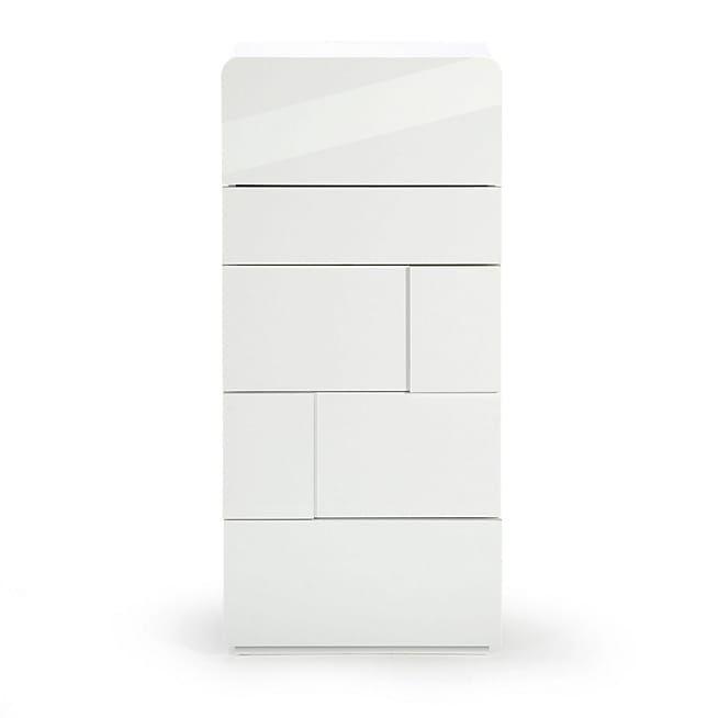 delia chiffonnier 5 tiroirs blanc laqu home. Black Bedroom Furniture Sets. Home Design Ideas