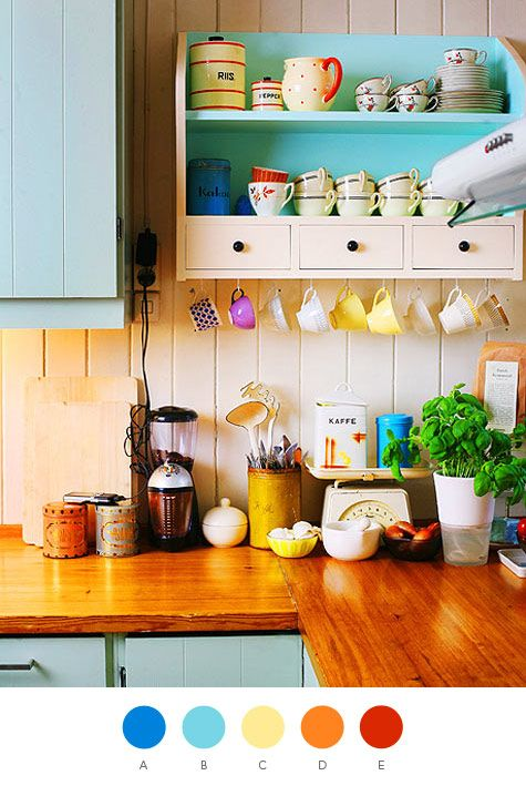 Brightly colored kitchen: beautiful bright colors, and mismatched teacups