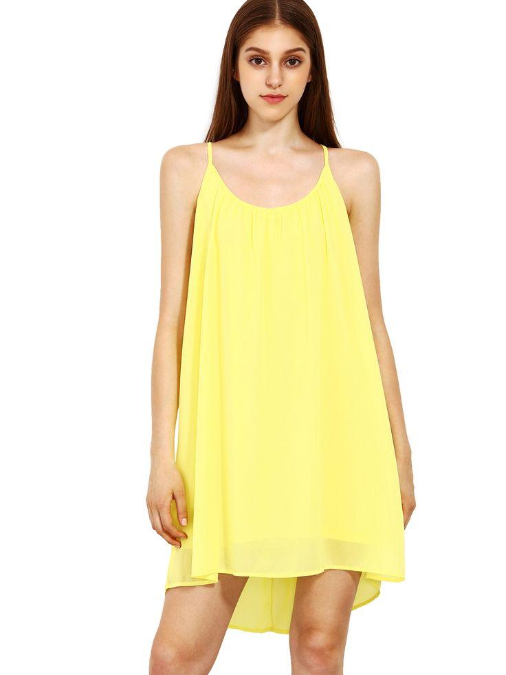 Spaghetti Strap Hollow Shift Neon jaune bretelles Sun Slip robes-French SheIn(Sheinside)