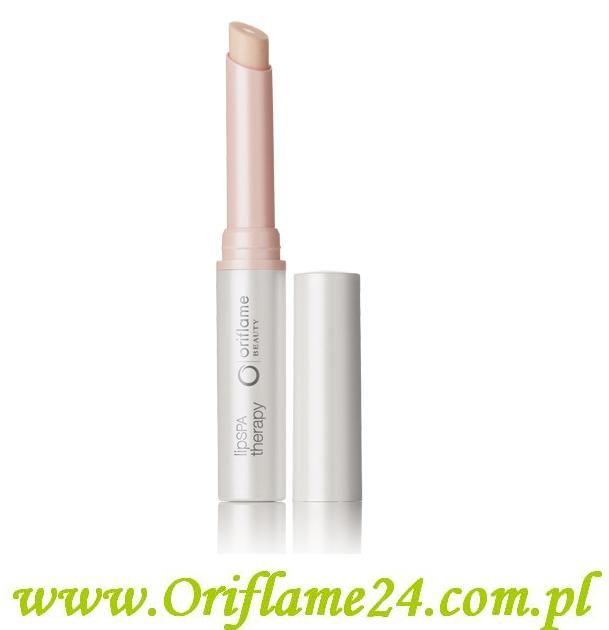 Oriflame - Balsam do ust Lip Spa Therapy. Koi oraz chroni skórę ust, a jednocześnie doskonale ją nawilża. Balsam z technologią 2-w-1 subtelnie podkreśla naturalny koloryt ust, zapewniając im całodniowe nawilżenie i chroniąc ich delikatną skórę przed działaniem stresorów środowiskowych. Posiada filtr ochronny SPF 8. Dostępna jest w 4 różnych kolorach.  Pojemność 1.6 g.