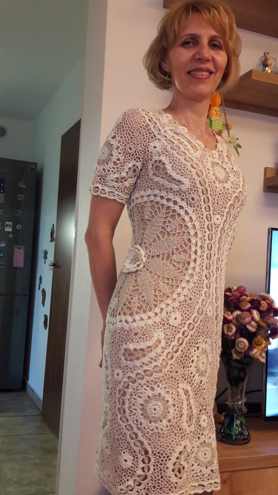 Crochet dress made with cotton crochet thread made in Irish crochet style. Each item of the dress is made separately and connected with crochet net. It is an elegant summer dress that can be worn at parties, wedding, dinner parties or many other occasions.  Size M   It is a stretchable dress. Maximum bust 90 cm - 35,43 inch Maximum waist 84 cm - 33,07 inch Max hips 102 cm - 40,15 inch  Length of the dress 95 cm - 37,4 inch  The item is ready to be shipped.  Custom orders - Size S-M 570 $…