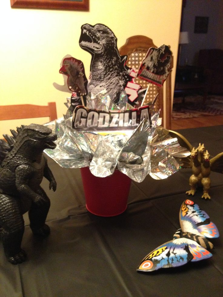 Godzilla centerpiece - I couldn't find any Godzilla party supplies for my son's sleepover birthday party, so I made this.