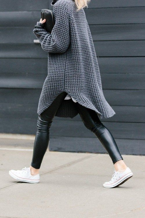 chunky oversize knit jumper, leather leggings and sneakers