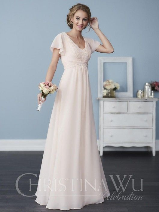 Size 8 White, Style 22762 from Christina Wu Celebration is a chiffon bridesmaid gown that has a pleated waist and bust, a V neckline front and back, and delicate butterfly sleeves. Colors: Shown in Blush Pink