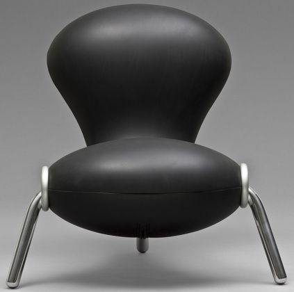 """The iconic """"Embryo"""" chair is a signature piece designed by Marc Newson in 1988.Commissioned by the Powerhouse Museum and made by Dedece,this exhibition was called """"take a seat""""."""