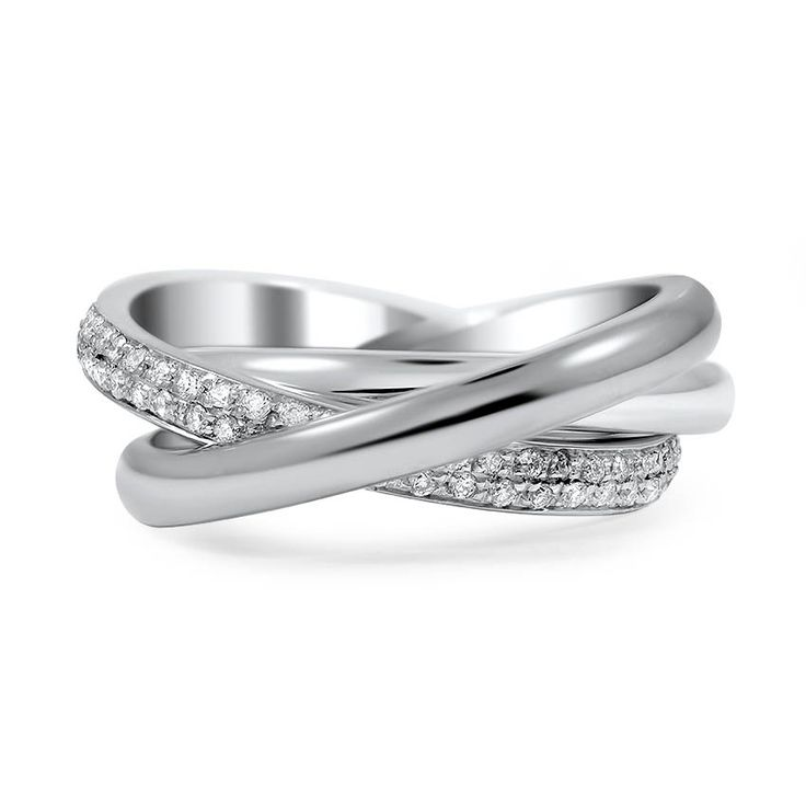 Two white gold bands and one shared prong diamond band are gracefully entwined in this mesmerizing rolling ring.