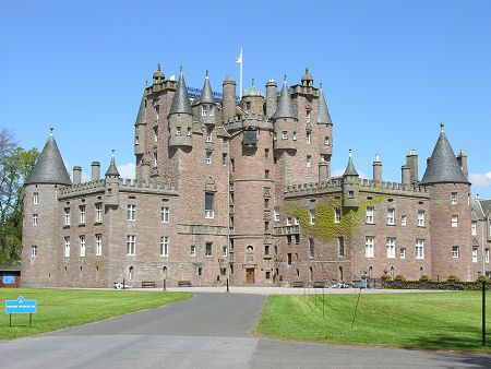 Glamis Castle stands in open Angus countryside some four miles south of Kirriemuir and five miles south west of Forfar, Scotland.