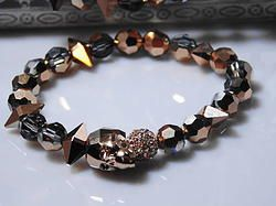 Rose Gold Crystal Skull Bracelet