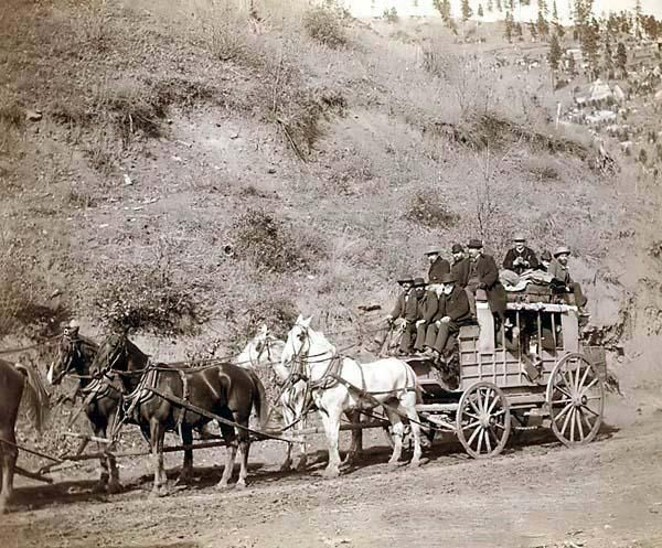 Last trip of the famous Deadwood Coach. It was created in 1890 by Grabill, John C. H., photographer. The photograph illustrates Side view of horse-drawn stagecoach loaded with passengers.