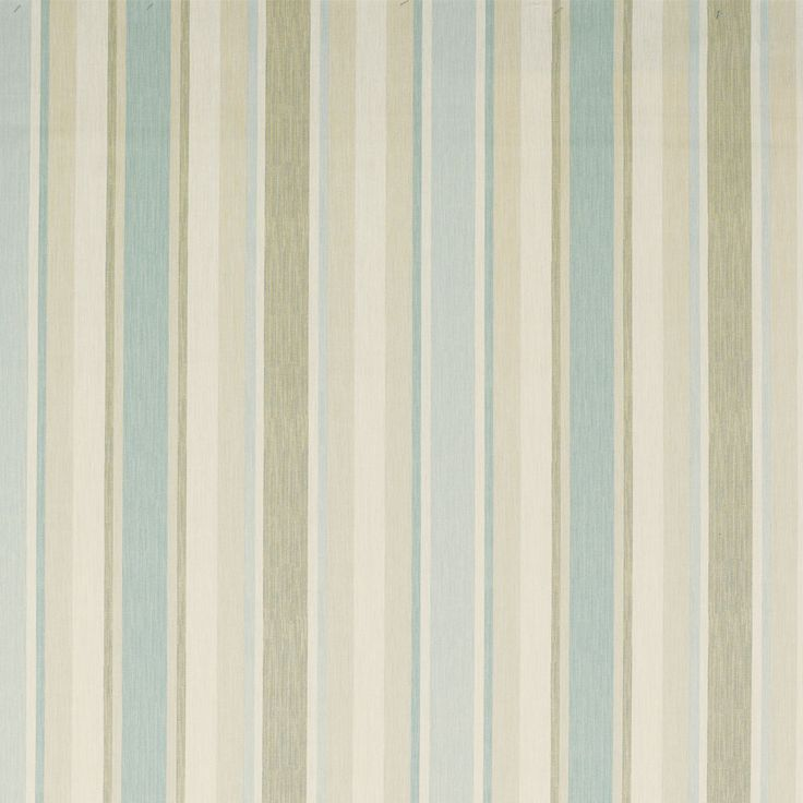 Awning Stripe Cotton Linen Fabric Duck Egg | Laura Ashley USA - The basic color scheme of the entire house?  Sage green on bead board, white woodwork, taupe walls and blue/turquoise as an accent color.  What do you think?