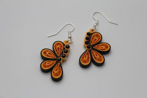 Half Butterfly Quilling Earrings/Yellow Earrings/Paper Earrings