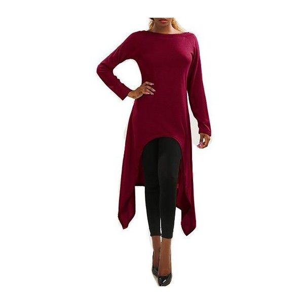 Rotita Burgundy Off Shoulder Asymmetrical Sweater Dress (€23) ❤ liked on Polyvore featuring tops, sweaters, red, long pullover sweater, off the shoulder tops, long sleeve pullover sweater, collared sweater and asymmetrical sweaters