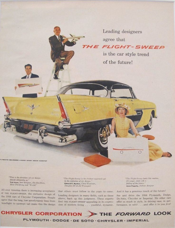 1956 Matted American Car Advertisement, Chrysler Flight-Sweep. A fabulous lithographic car advertisement printed in the 1950s featuring Chrysler's Flight-Sweep design and extolling its features.