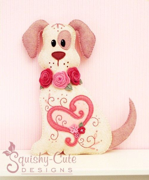 Dog Stuffed Animal Pattern - Felt Plushie Sewing Pattern & Tutorial - Hugs the Valentine Dog - Embroidery Pattern PDF