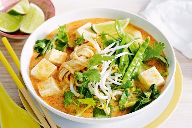 Warm up this winter with this quick and easy Tofu and baby pak choy laksa. #soup #winter #recipe