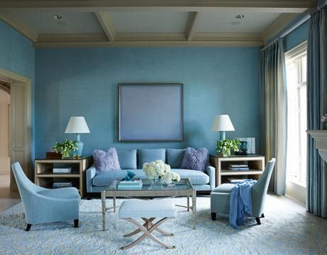 Monochromatic Living room: Uses variations of lightness and saturation of  blue.