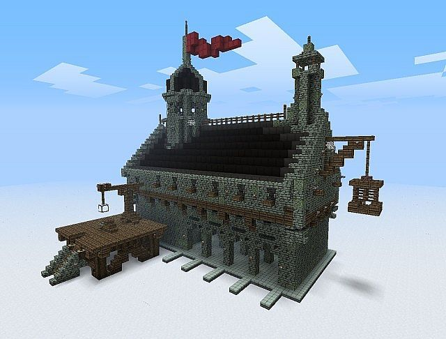Awesome town hall design minecraft inspiration for Awesome house blueprints