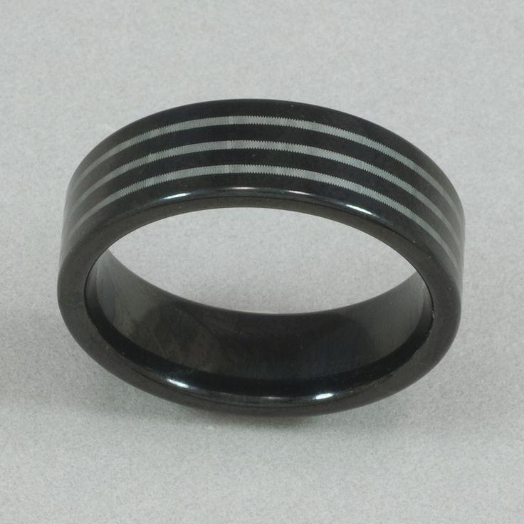 Men's Black Tungsten Stripe Ring
