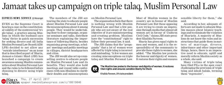 Jammat-e-Islami Hind has launched a campaign to create awareness among Muslim communities about Muslim Personal Law and the rules to be followed before choosing to divorce using triple talaq (divorce).
