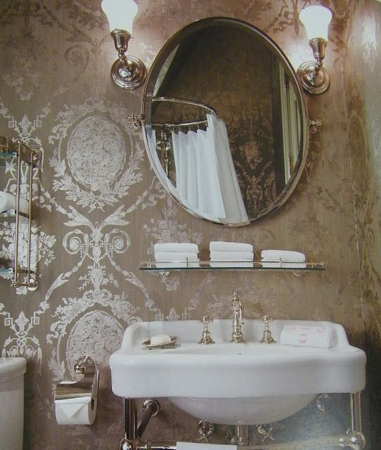 Contemporary Art Websites This elegant bath has beautiful wallpaper in a french classical pattern in metallic on taupe