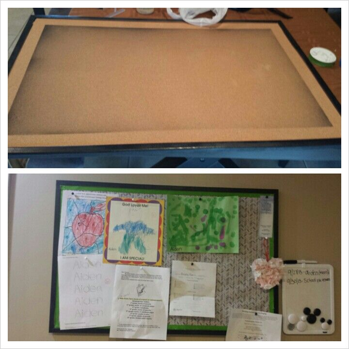 Made a bulletin board for my kitchen to hang kids school for Bulletin board ideas for kitchen