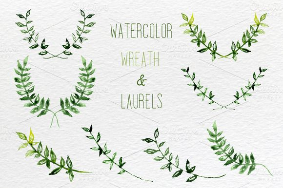 watercolor laurels