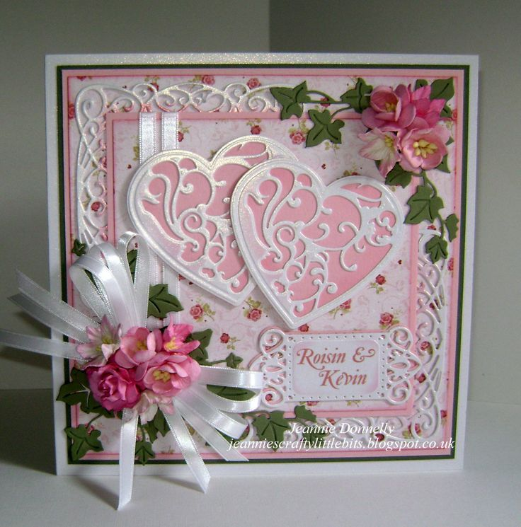 Another Wedding Card using Spellbinders Vines of Passion and three Sue Wilson's designs Dies from Creative Expressions, New York Collection Times Square, Corner, Border & Tag and Finishing Touches Trailling Ivy - also using Spellbinders Grand Squares and Flowers from Wild Orchid Crafts