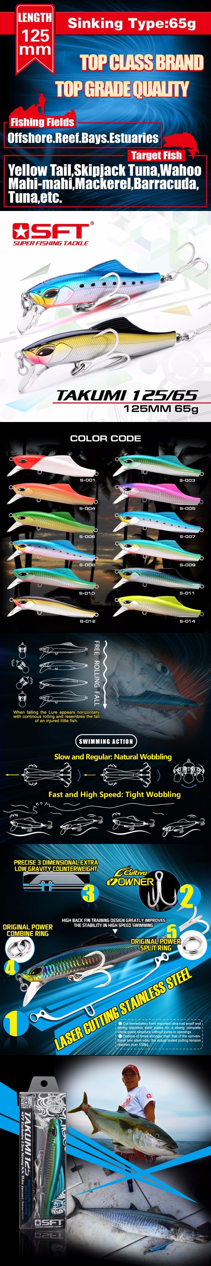 Luxury Series Brand SFT Takumi 125-65 125mm/65g Sinking Minnow Lure With Nice Box Wobbler Fishing Lure Pesca leurre 18 colors