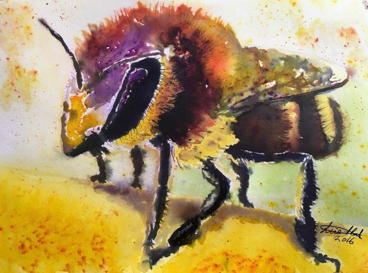 """""""To bee or not to bee!"""" By Lise Holt Brusho painting on watercolour paper."""