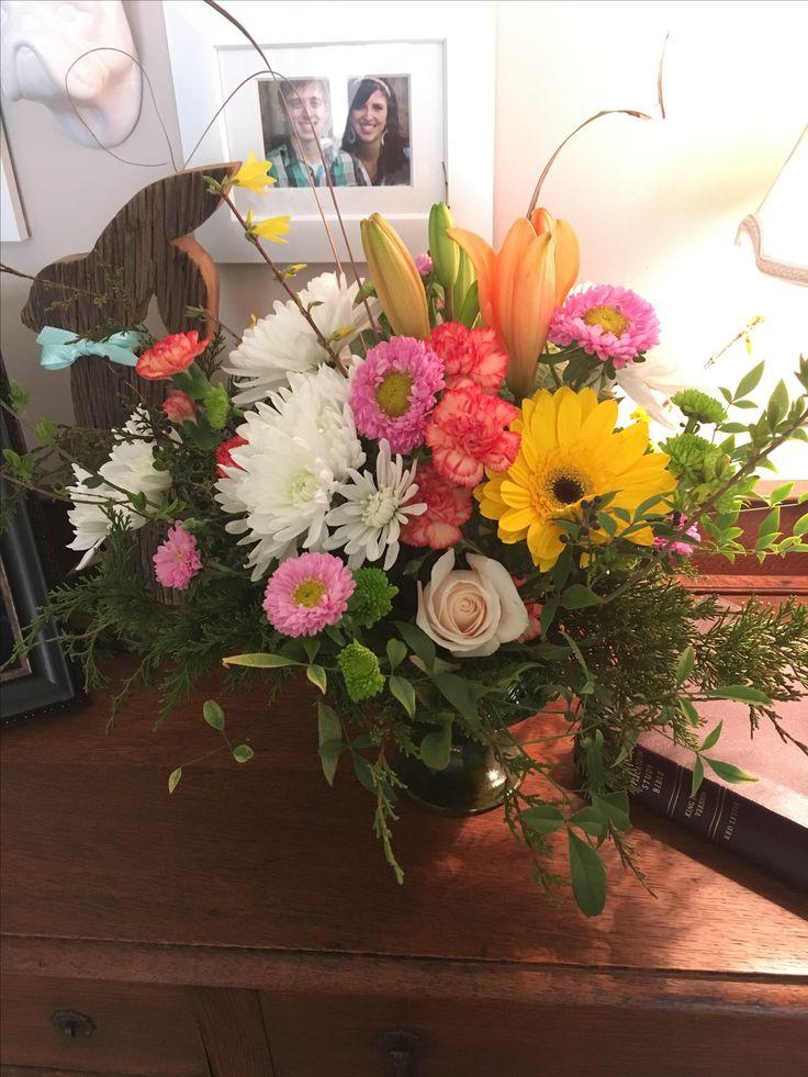 Flower arrangement. Walmart bouquet cost me $14.00 added greenery ...