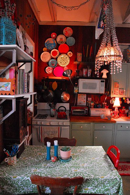 Love the chandelier in this tiny kitchen--and the wild colors! People do such imaginative things in their tiny homes! From Flickr.