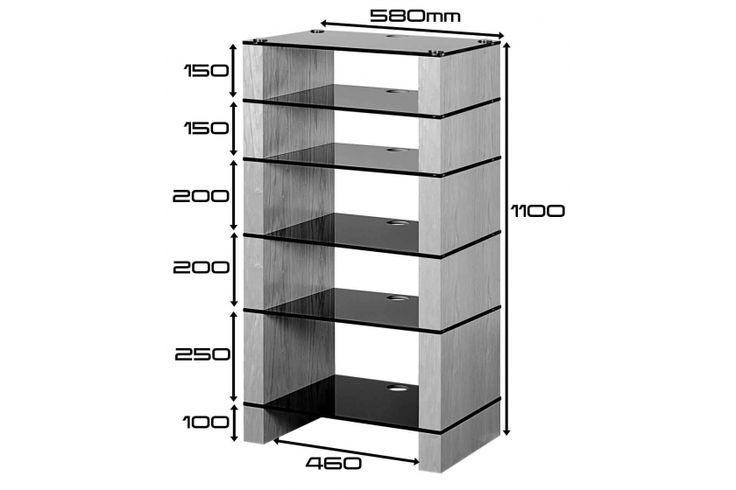 STAX 600 Six shelf Hi-Fi Stand Dimensions Drawing, Oak Black