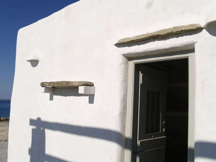 Architectural details of Cycladic residences in Paros island, Greece. Stone lintels.