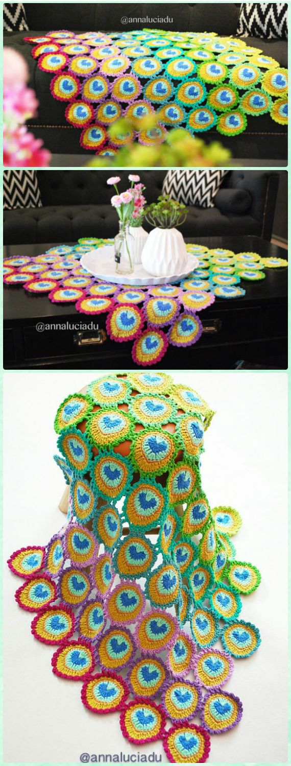 10 Crochet Peacock Feather Free Patterns