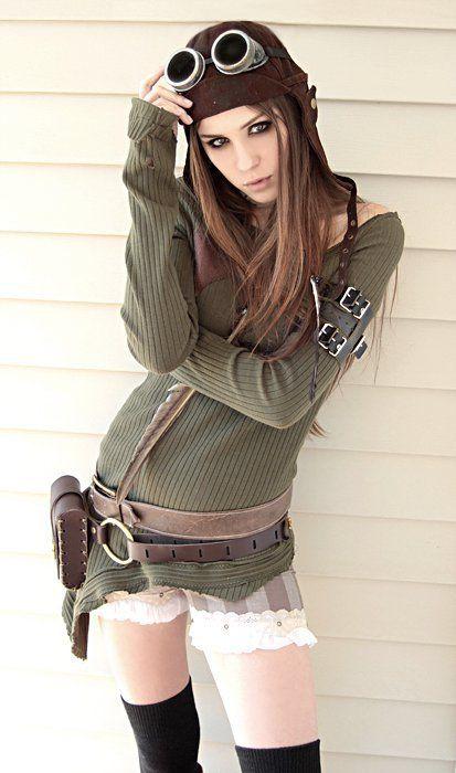 a more modern take on a steampunk pilot girl.