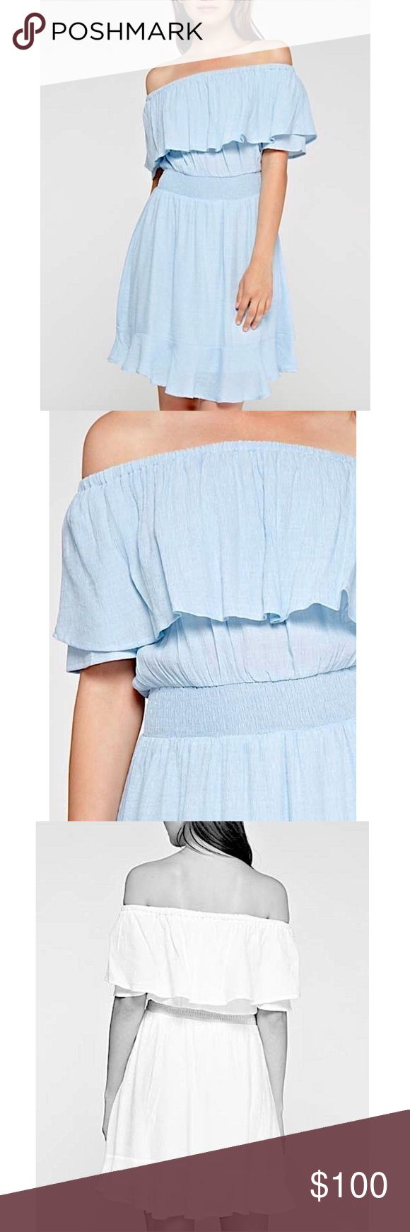 SPRING DRESS Off the Shoulder Ruffled Swingy Mini Available Sizes: S, M, L. Brand New.  • Beautiful powder blue mini dress featuring an effortless silhouette & solid gauze fabric detailing throughout. • Short sleeves with ruffled flutter overlay & banded elastic waist. • Draped fabric swings with ease. • Self-lined with a mini dress. • Much prettier in person! • Rayon, nylon. • Import. Easter Spring  {Southern Girl Fashion - Boutique Policy}  ✔️ Same-Business-Day Shipping (10am CT). ✔️ Price…