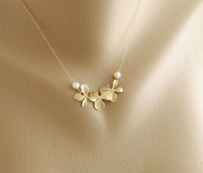 Pearl And Orchid Gold Fill Necklace Dainty Necklace