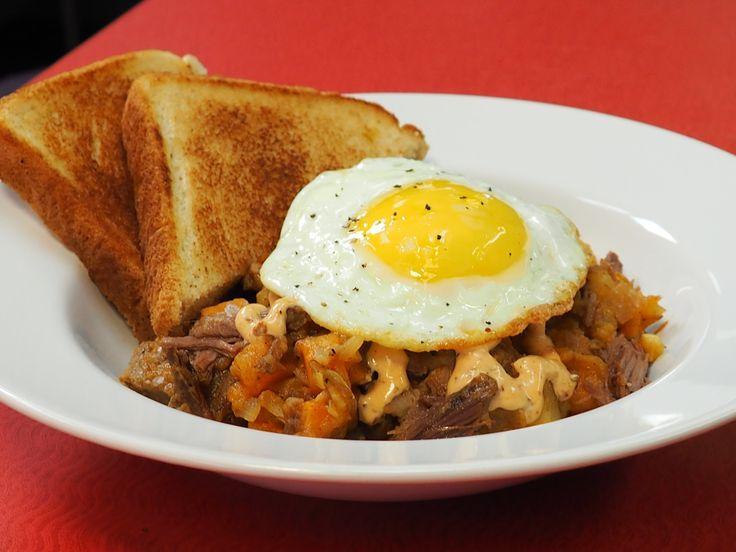 "Brisket Hash recipe from Amanda Freitag via Food Network's ""American Diner Revival."""