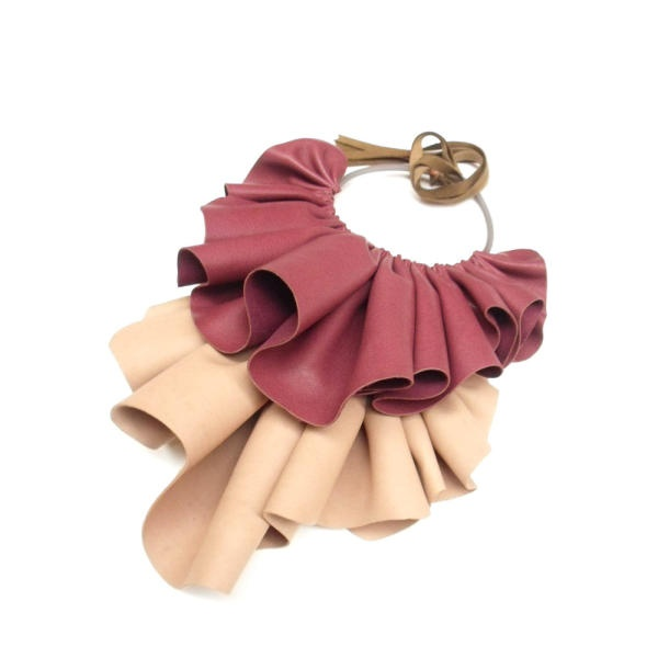 """Fersen"" leather jabot necklace | Giulia Boccafogli"