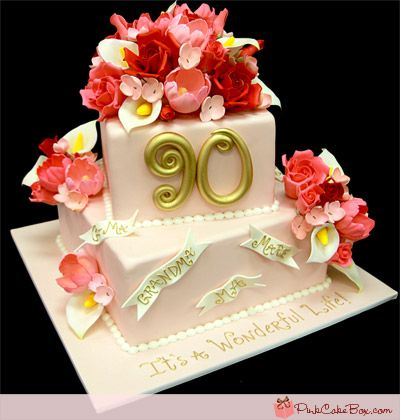 90th Birthday Floral Cake by Pink Cake Box in Denville, NJ.  More photos at http://blog.pinkcakebox.com/90th-birthday-floral-cake-2012-02-14.htm  #cakes