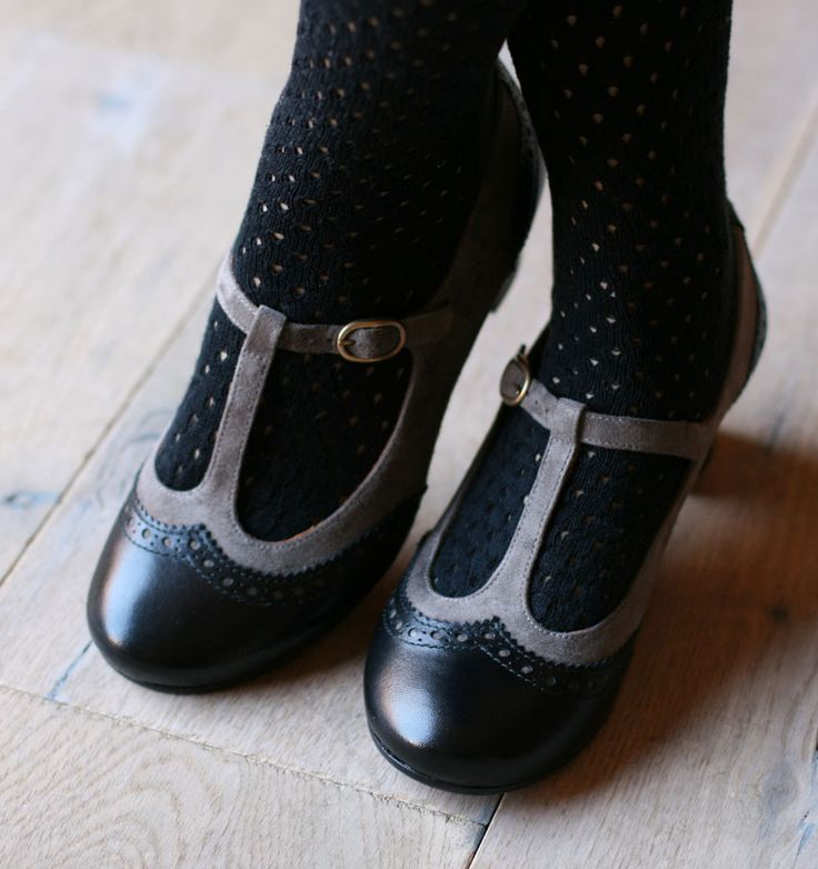 How cute are these black & grey T-strap #shoes! #studiopaars