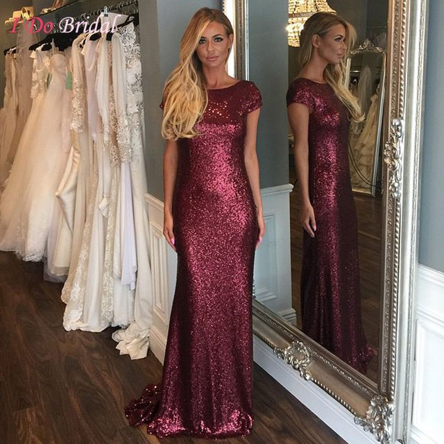 Burgundy Sequin Bridesmaid Dresses Long Formal Couture Mermaid Wedding Party Dress Backless Floor Length Cap Sleeve D35