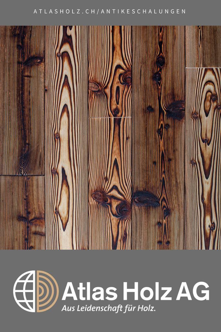 Antike Schalungen Vesuv, heimische Lärche, gebrannt, gebürstet, geölt / Wall Panels Vesuv, native Larch, burned, brushed, oiled