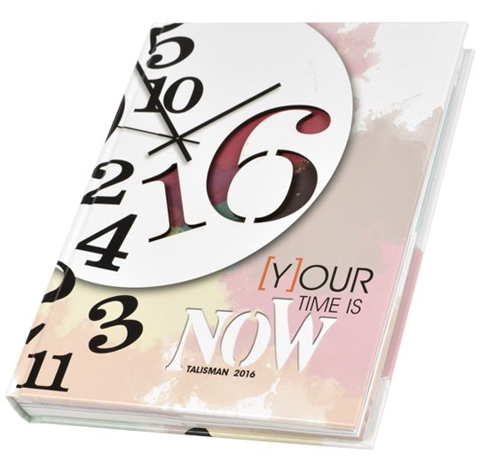 "2016 Talisman West Morris Central High School Chester, New Jersey  Theme: ""Your Time is Now"" Adviser: Cara Fabin Editor: Alexis O'Neil Walsworth representative: Lauren Romano Four-color, litho, gloss lamination and laser cut"