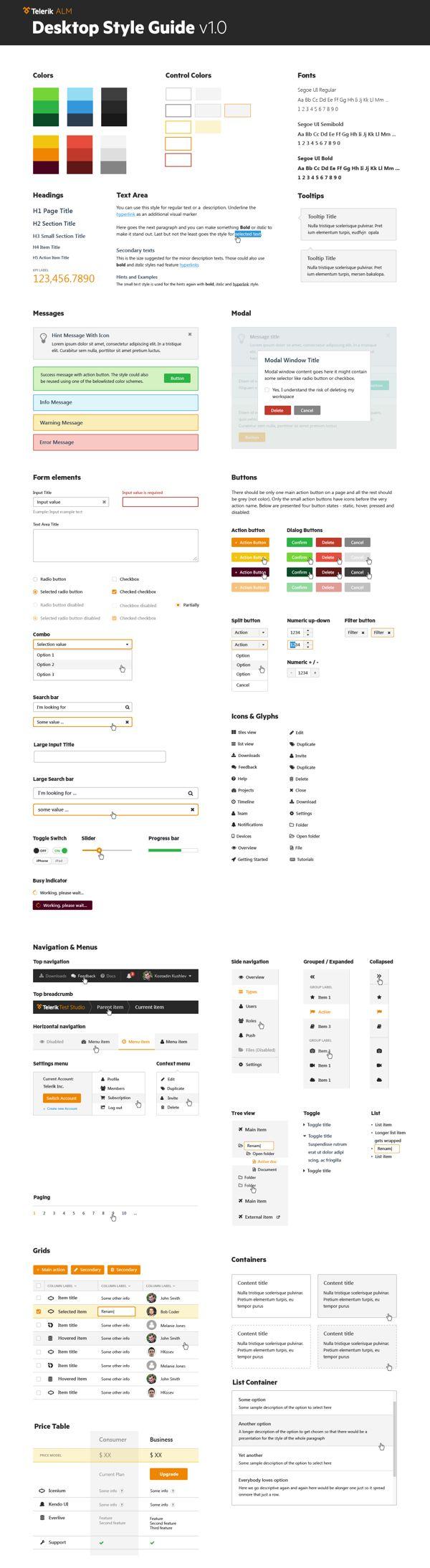 Telerik Desktop Style Guide