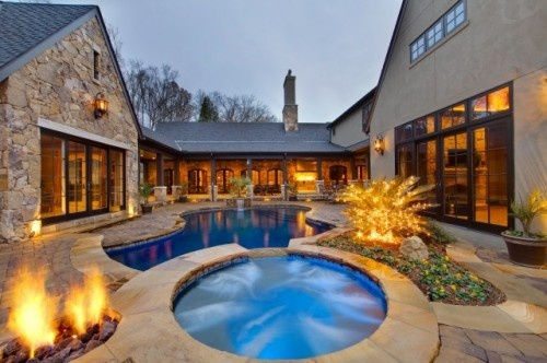 Pool area - wrap aroundCustom Pools, Ideas, Dreams House, Courtyards Pools, Hot Tubs, Falling Waters, Pools Design, Fall Water, Fire Pit